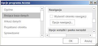 14 • Opcje startowe MS #Access  W bazie danych dla użytkownika końcowego ukrywa się okno bazy danych MS Access, za pomocą opcji startowych. Jednak użytkownik może wybrać polecenie Menu/Plik/Opcje i zmienić ustawienia. Także wciśnięcie klawisza Shift podczas startu bazy powoduje pominięcie opcji startowych. Okno bazy można odsłonić za pomocą klawisza F11. Prawie wszystkie opcje programu MS Access można zmienić za pomocą kodu #VBA ( #VBA7 ) wykorzystując kolekcję #Properties obiektu…