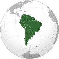 South America (Wiki) includes twelve sovereign states – Argentina, Bolivia, Brazil, Chile, Colombia, Ecuador, Guyana, Paraguay, Peru, Suriname, Uruguay, and Venezuela – and two non-sovereign areas – French Guiana and the Falkland Islands,