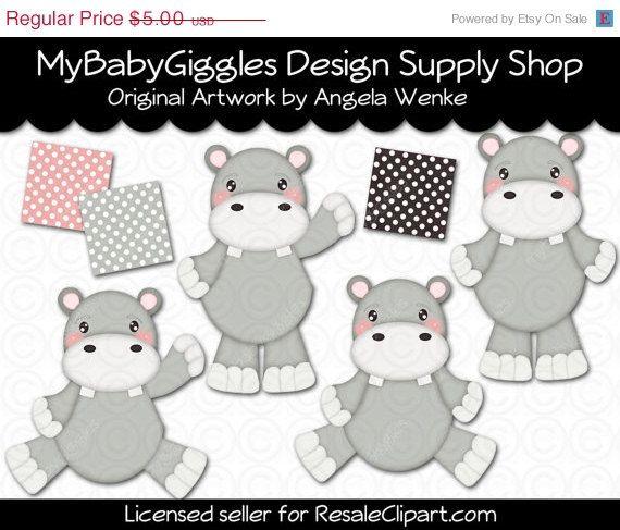 50% OFF SALE Little Hippo Clip Art Digital Graphics Scrapbook Card Making Supply INSTANT Download