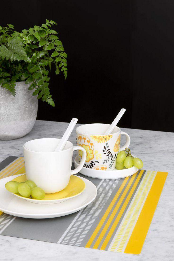 Ajaton tableware by Vallila Design Studio, Loitsu mug by Matleena Issakainen, Pallas placemat by Riina Kuikka