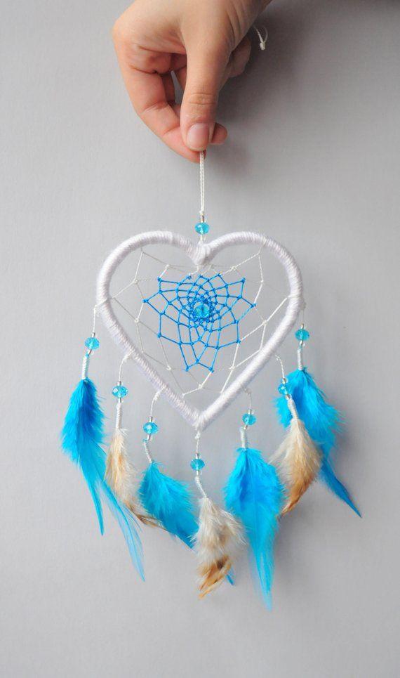 Traumfänger mit Licht Dreamcatcher Handgemacht Herz Groß Federn Liebe Dekoration