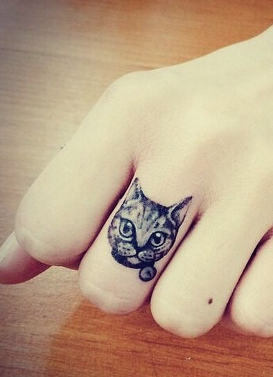 small cat finger tattoo #ink #girly