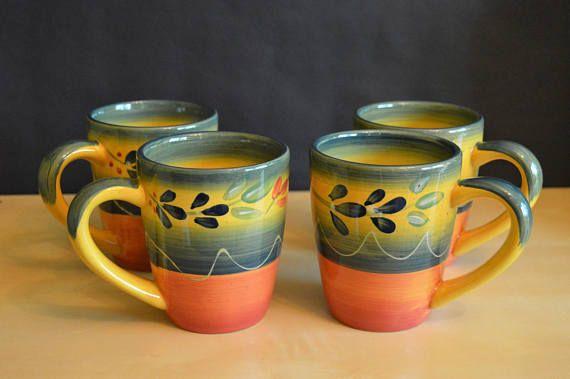 Set of 4 Corsica La Province 16 oz Mugs Hand Painted & Set of 4 Corsica La Province 16 oz Mugs Hand Painted ...