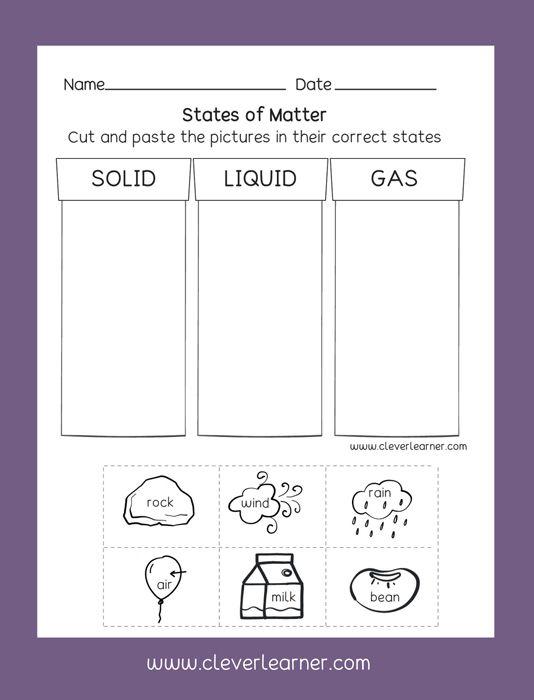 States of Matter: Solid Liquid Gas Free Preschool activity ...
