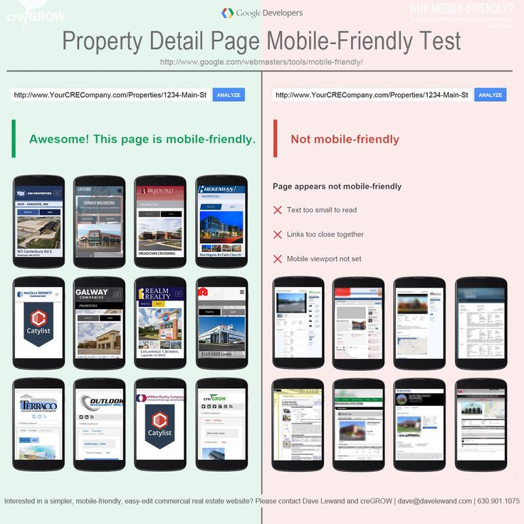 Graphic: Commercial Real Estate Property Detail Page Mobile-Friendly Test - creGROW Guest Post by Dave Lewand on DukeLong.com | Commercial Real Estate Website Design by creGROW