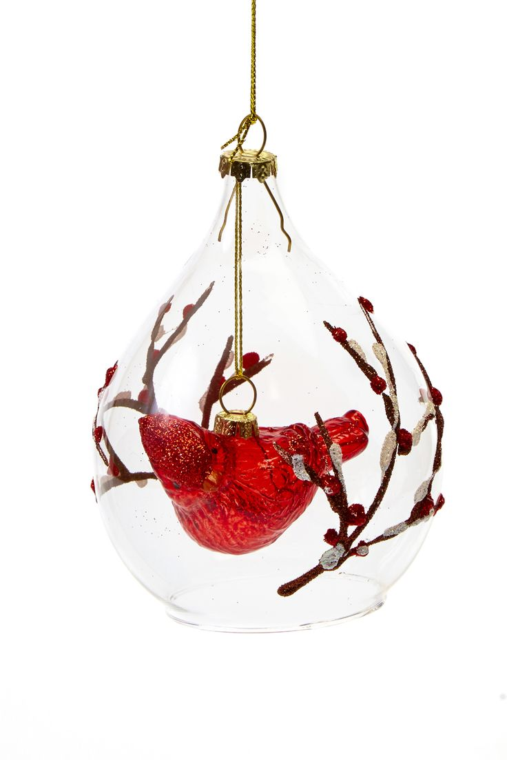 Glass cardinal with glitter branch ornaments are at the Shop at AGH and the AGH Annex!