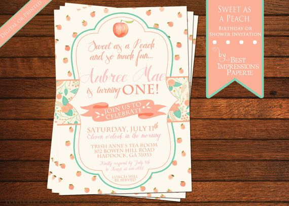 Sweet as A Peach  Peach Birthday Party  by ImpressionsPaperie