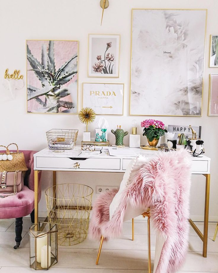 Cute Home Office Interior Pink Faux Fur Decor Decoration Home