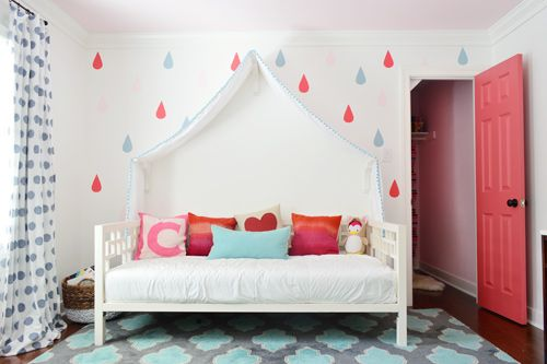 Great idea for raindrops, polka dots, or whatever. The painted door is fun, too. Raindrops & Rose Paint | Young House Love