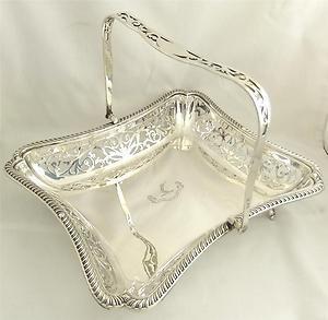 "Superb antique solid silver pierced basket 9"" Birmingham 1902 - 432grams"