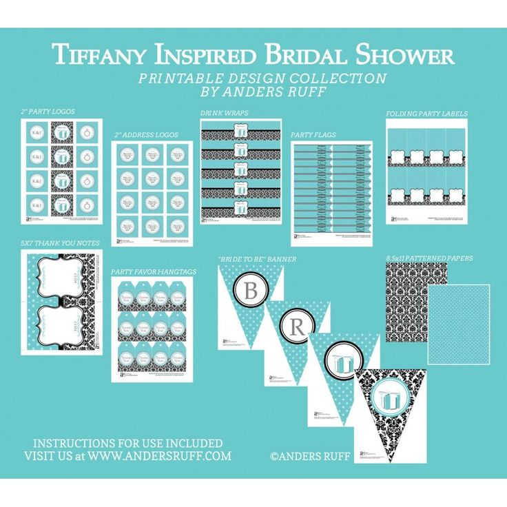 Tiffany's Inspired Bridal Shower Printables Collection