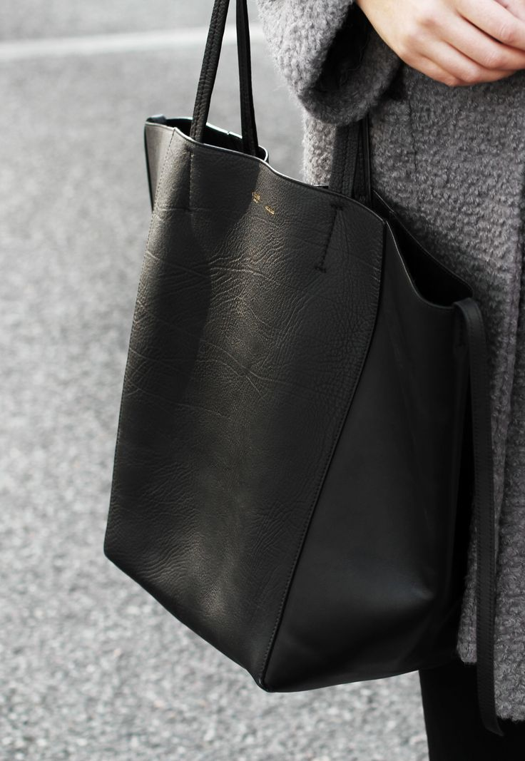 celine black leather tote bag