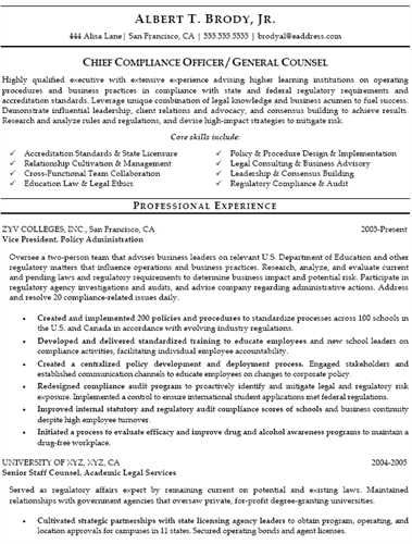 image result for compliance officer resume sample