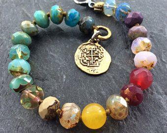 Ombré boho Bracciale - Bracciale colorato arcobaleno, moneta d'oro gioielli, braccialetto pila estate, regalo di compleanno di Mollymoojewels