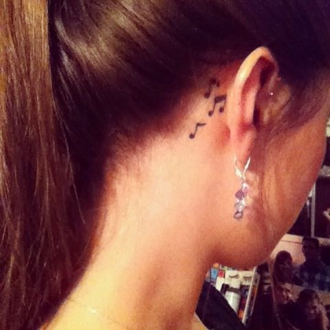 Music note tattoo behind the ear  #music #tattoo #ink
