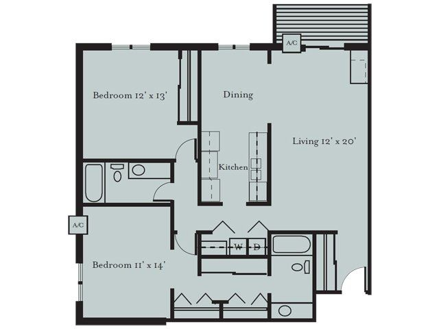 2 Bedroom 2 Bath Floor Plan Of Property Park Glen Apartments In St Louis Park Mn 1220 Square