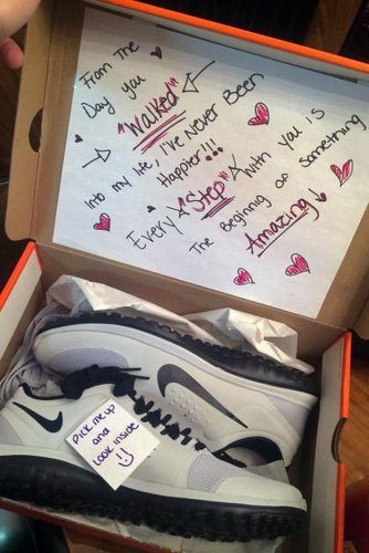 This pair of shoes is a cute twist to a conventional Valentines Day gift for him! Why have I never thought of this!?