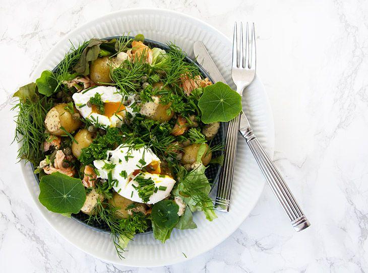 Nye kartofler med urter varmrøget laks og porcheret æg - opskrift