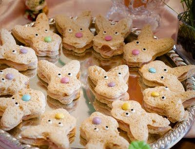 Bunny Sandwiches, get out the cookie cutter and have fun. don't limit yourself to bunnies, there are chicks, eggs, tulip, etc cutters out there too.  for the chick, maybe turn the bread yellow with food coloring, not sure how to work it but just a thought.