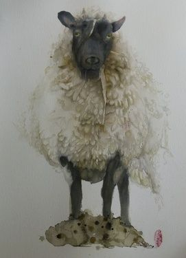 "Saatchi Online Artist Marie-helene Stokkink; Painting, ""Sheep"" #art"