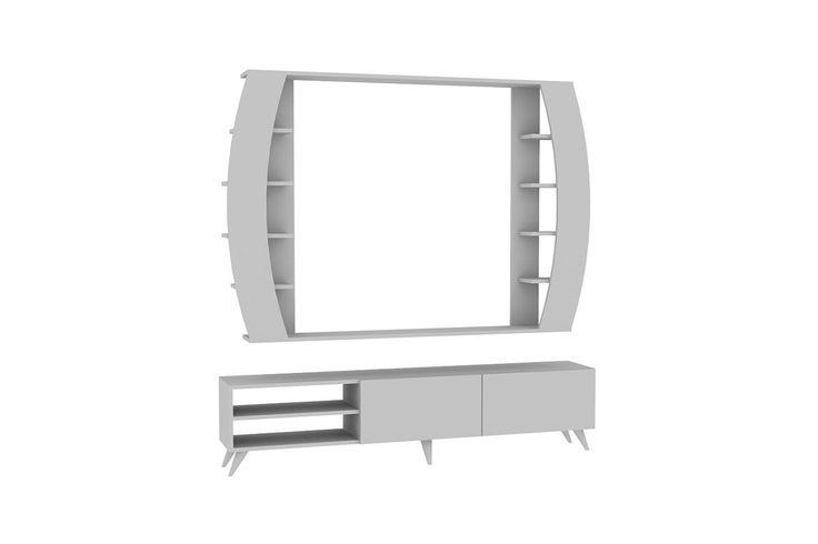 Σύνθεση σαλονιού Tac χρώμα λευκό 180x31x42 180x20x123(τοίχου)