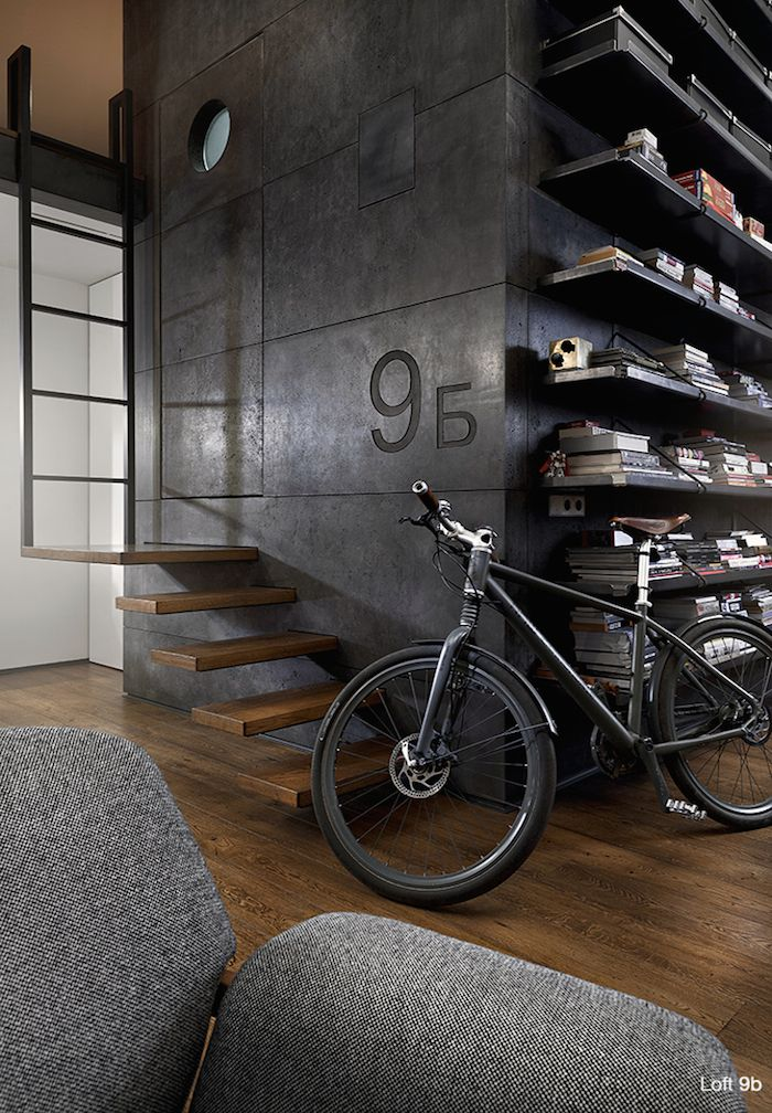 This modern loft in Sofia, Bulgaria was reconstructed by architect Dimitar Karanikolov and interior designer Veneta Nikolova. Using black steel, exposed brick, dark wood and custom-made concrete panels, the structure has a strong industrial style … with the interior furnishings further complementing the industrial look. Photos by Minko Minev via Behance via Planete dustjacket-attic.com More