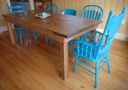 Painted blue mismatched thrift store chairs around farmhouse table by www.domesticated-engineer,com