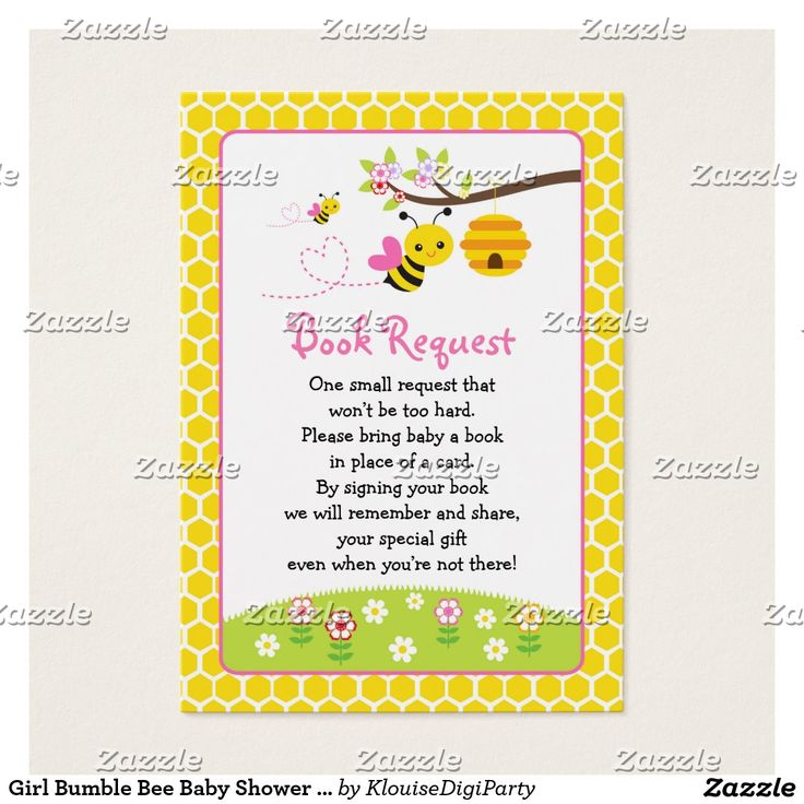 Girl Bumble Bee Baby Shower Book Request Business Card