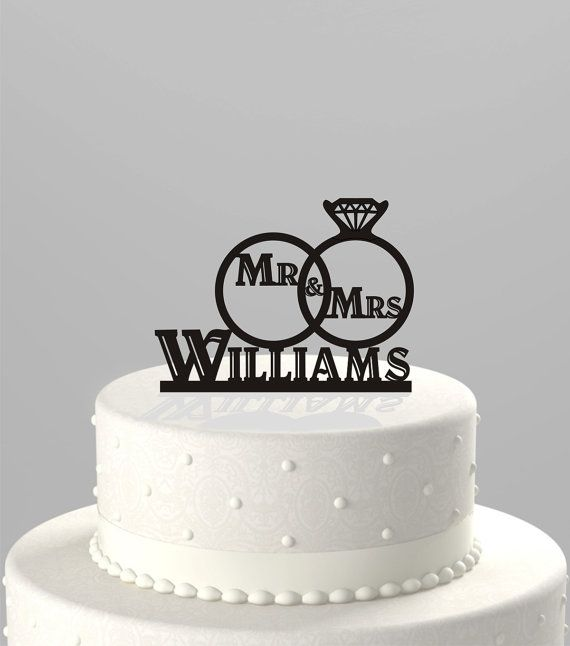 Wedding Cake Topper Of A Wedding Ring Set With Mr Amp Mrs