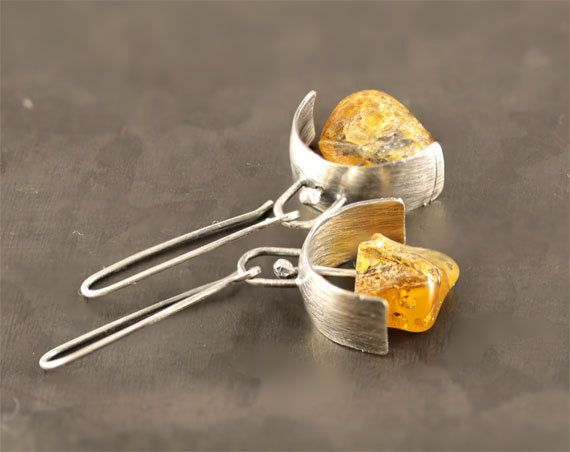 Amber earrings amber jewelry natural amber by SylviaArtGallery, $69.00 what if it was prong settings instead of posts?