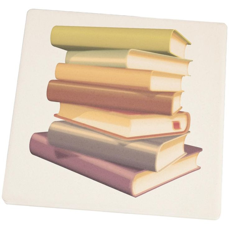 Book Collector Stack Set of 4 Square Sandstone Coasters