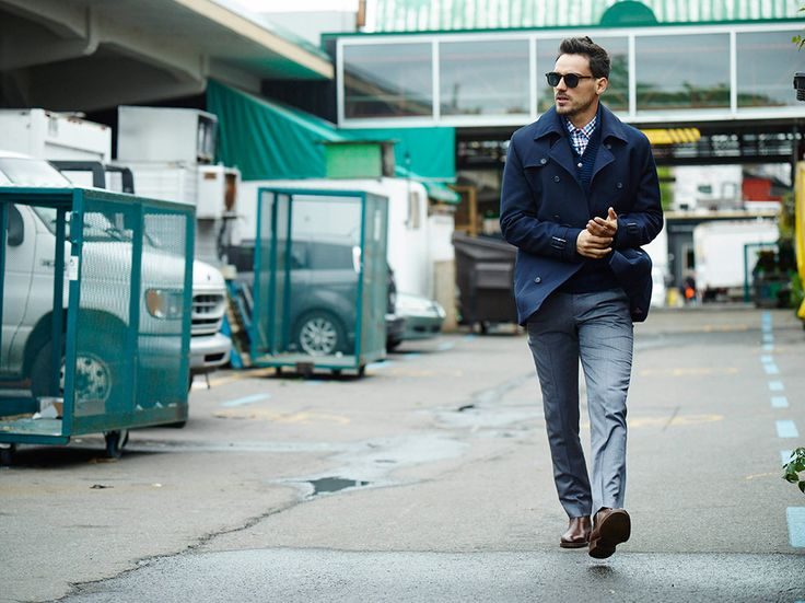 #navy#coat#grey#trousers