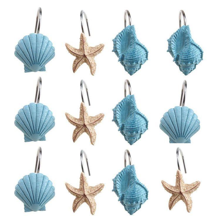 Seashell Shower Curtain Hooks Beach Theme Blue Shells #AGPtEK