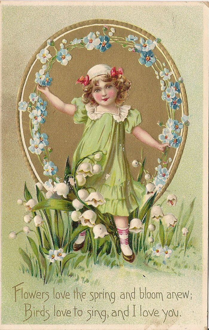 Victorian Valentine Postcard  Girl  Forget Me by TableauBotanique