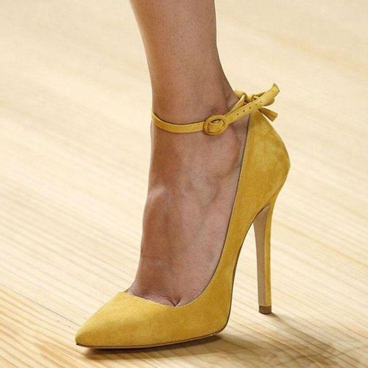 Shoespie Yellow Wear to Work Ankle Wrap Stiletto Heels