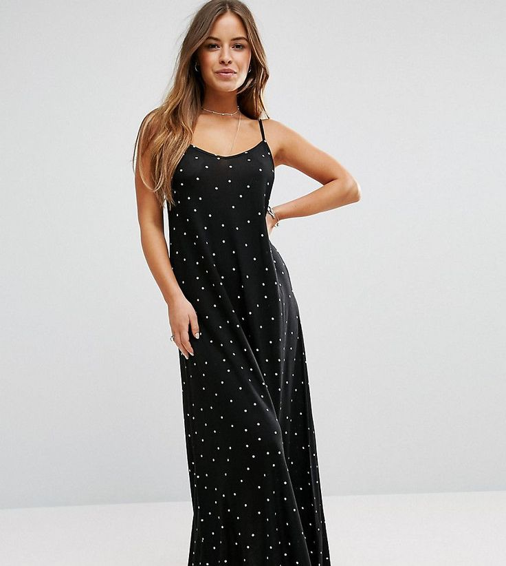 ASOS PETITE Maxi Dress in Polkadot - Black