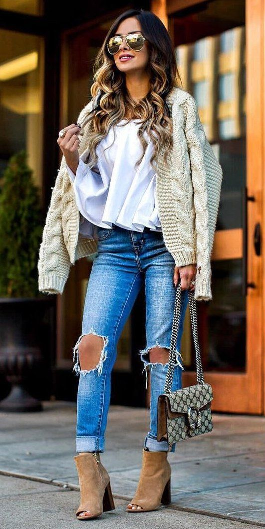Cream Jacket + White Top                                                                             Source