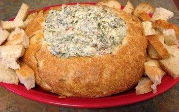 Spinach Dip in Bread Bowl Recipe on http://birthdayplanet.net/treats