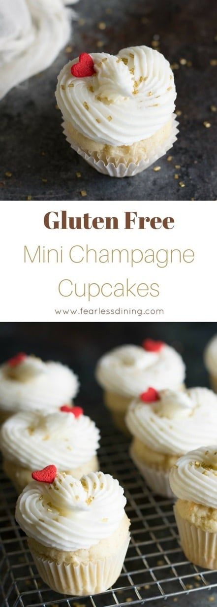 These cute mini gluten free champagne cupcakes make a fabulous gluten free dessert for Valentine's Day, New Year's, or any party! Easy gluten free cupcake recipe at www.fearlessdining.com #champagnecupcakes #valentinesday #glutenfrecupcakes via @fearlessdining