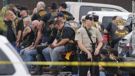 Gunfire erupted Sunday among rival biker gangs in Waco, Texas, leaving at least nine people dead, according to police.