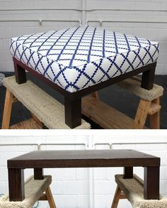 Ottoman DIY - Turn a cheap end table into a padded ottoman. Full Step-by-Step Tutorial. From Design Sponge