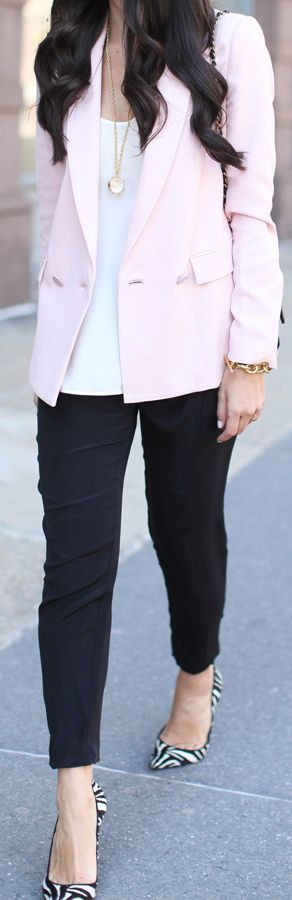 Rebecca Taylor Light Pink Classic Sophisticated Tailored Blazer by With Love From Kat