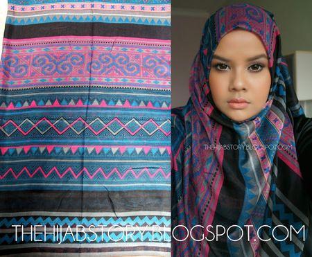 AZ Blue Pink | koleksi hijab tribal berbahan katun dari�TheHijabStory