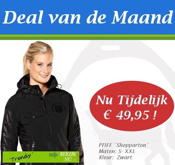 DEAL v/d MAAND!  De Pfiff Shepparton is een elegant gesneden jack met een modern uitstraling en een getaileerde pasvorm. De jas is heerlijk warm, heeft een hoge kraag met afneembare capuchon en ritssluitingszakken aan de zijkant. De mouwen hebben elastische bandjes aan de binnenkant waardoor warmte niet verloren gaat.  Normale prijs: € 79,95 Speciale prijs: € 49,95  http://happyhorsedeal.nl