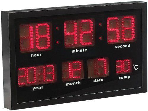 Lunartec Multi-LED-Funk-Uhr mit Datum und Temperatur, 412 rote LEDs - http://uhr.haus/lunartec/lunartec-multi-led-funk-uhr-mit-datum-und-412-rote