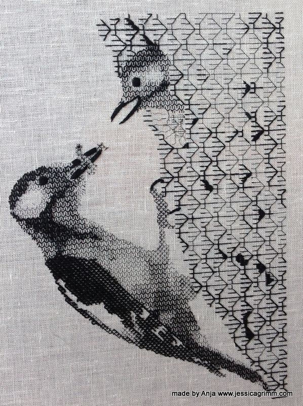This beautiful blackwork piece was made by my student Anja from the Netherlands during one of my embroidery retreats.