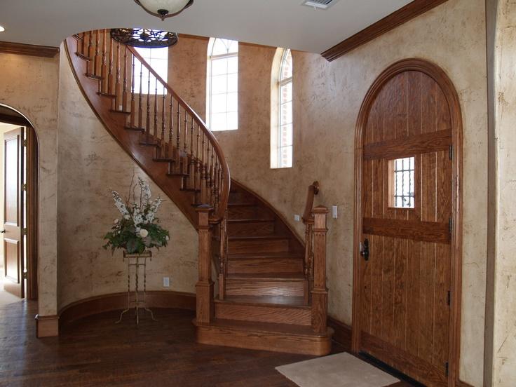scribed oak effect home. Oak Stairway; Hand-scribed Flooring; Arched Entry Door Scribed Effect Home