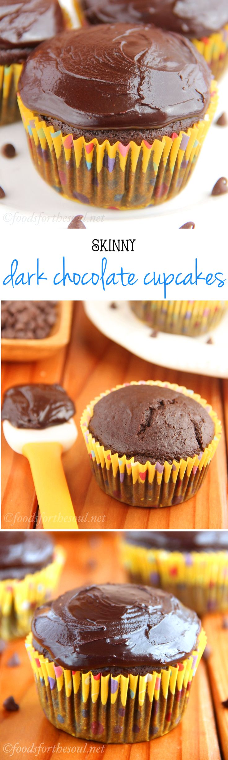 An easy, no-mixer-required recipe for skinny dark chocolate cupcakes. They taste so decadent -- you can't tell they're lightened up at all!