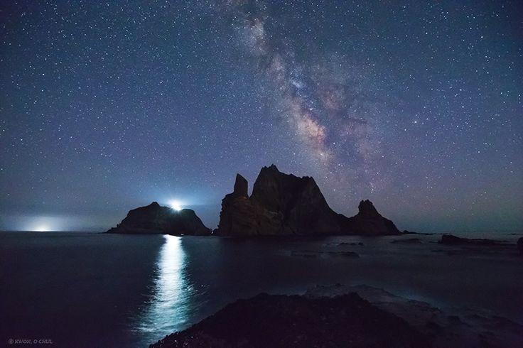 Milky Way Rising Over Liancourt Rocks, Dokdo
