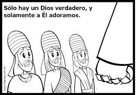 Dibujos para que los niños coloreen. Sadrac, Mesac y Abednego fueron librados del horno de fuego por su fidelidad a Dios. Ellos no rindieron...